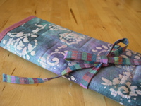 Needlecase with ribbon tie (cool colorway)